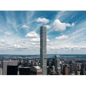 フリー写真, 風景, 建造物, 建築物, 高層ビル, 都市, マンション(団地), 432パーク・アベニュー, アメリカの風景, ニューヨーク, 雲