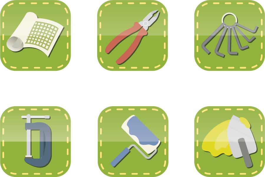 フリーイラスト ペンチや六角レンチなどの工具のアイコンのセット