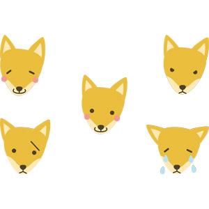 フリーイラスト, ベクター画像, AI, 動物, 哺乳類, 狐(キツネ), 動物の顔, 喜ぶ(動物), 怒る(動物), 泣く(動物), 困る(動物)