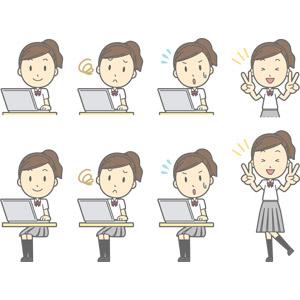 フリーイラスト, ベクター画像, AI, 人物, 少女, 少女(00270), 学生(生徒), 高校生, 学生服, パソコン(PC), ノートパソコン, 困る, 焦る, ピースサイン(Vサイン)
