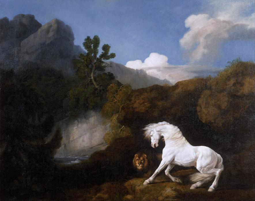 フリー絵画 ジョージ・スタッブス作「ライオンにおびえる白馬」