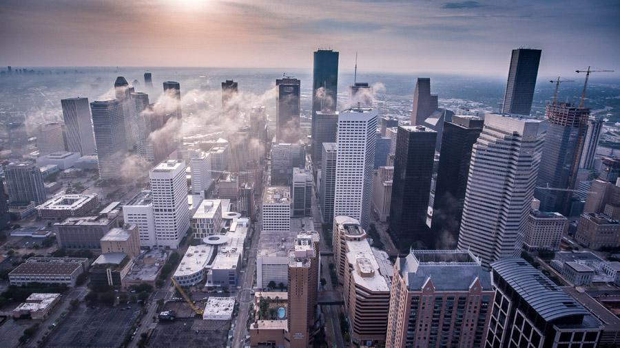フリー写真 高層ビルが建ち並ぶヒューストンの街並み風景