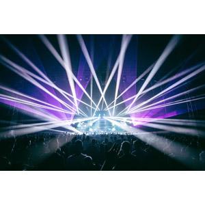 フリー写真, 風景, コンサート(ライブ), レーザー光線, 人込み(人混み), 観客, 音楽, 人と風景