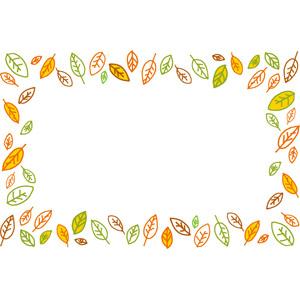 フリーイラスト, ベクター画像, AI, 背景, フレーム, 囲みフレーム, 植物, 葉っぱ, 落ち葉, 秋