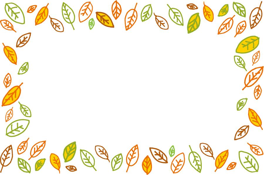 フリーイラスト たくさんの落ち葉の飾り枠
