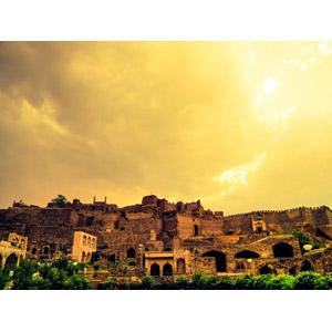 フリー写真, 風景, 建造物, 建築物, 城, 要塞, 夕暮れ(夕方), インドの風景