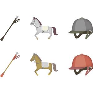 フリーイラスト, ベクター画像, AI, スポーツ, アニマルスポーツ, 馬術, 動物, 哺乳類, 馬(ウマ), 鞭(ムチ), 乗馬用ヘルメット