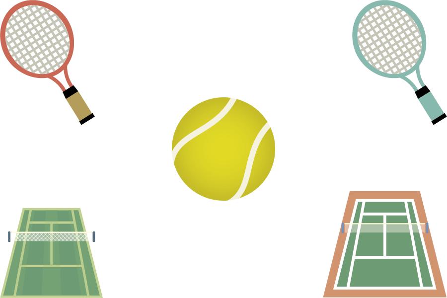 フリーイラスト ラケットとボールとコートとテニスのセット