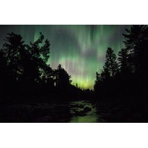 フリー写真, 風景, 自然, 河川, 夜, オーロラ, アメリカの風景, ノースダコタ州, 星(スター)