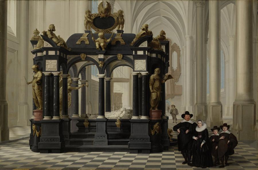 フリー絵画 ダーク・ファン・デレン作「デルフト新教会のウィレム1世の墓の側にいる家族」