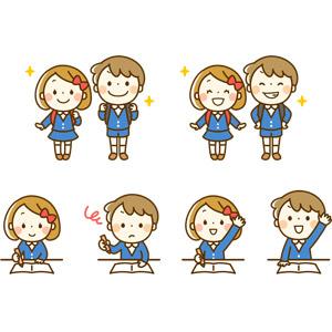 フリーイラスト, 人物, 子供, 男の子, 女の子, 小学生, 学生(生徒), 笑う(笑顔), 書く, 勉強(学習), 挙手, 授業, 教育, 学校, 手を上げる, 男の子(00230), 女の子(00272)