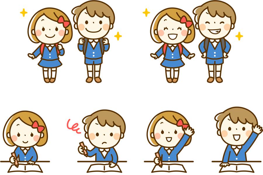 フリーイラスト 小学生の男の子と女の子のセット