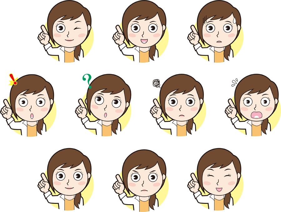 フリーイラスト 10種類の指差す女性のセット