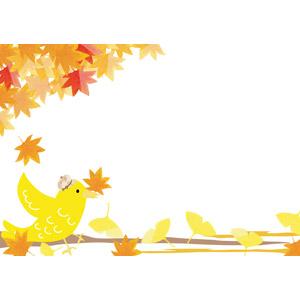 フリーイラスト, ベクター画像, AI, 背景, 植物, 葉っぱ, もみじ(カエデ), イチョウ, 紅葉(黄葉), 秋, 落葉(落ち葉), 動物, 鳥類, 鳥(トリ), 小鳥, 咥える(動物)
