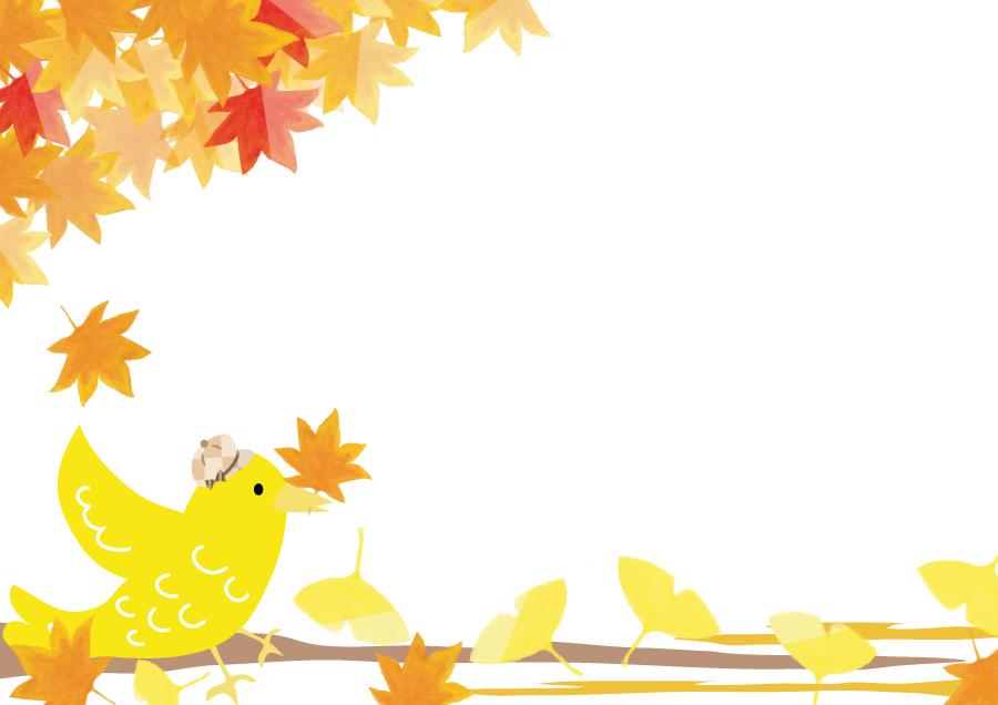 フリーイラスト 紅葉したもみじといちょうの葉と小鳥の背景