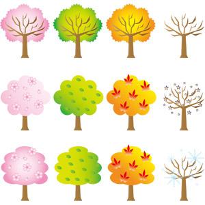 フリーイラスト, ベクター画像, AI, 樹木, 春, 夏, 秋, 冬, 桜(サクラ), 新緑, 紅葉(黄葉), もみじ(カエデ), 雪