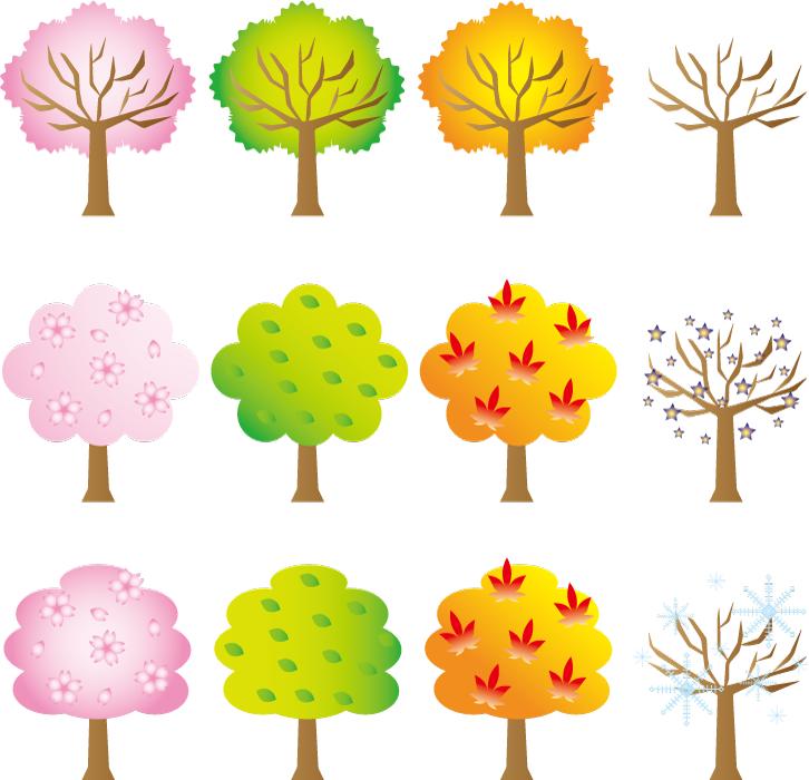 フリーイラスト 春夏秋冬の木のセット