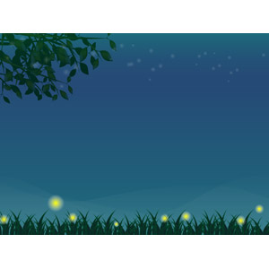 フリーイラスト, ベクター画像, AI, 背景, 植物, 葉っぱ, 草むら, 夜, 蛍(ホタル), 光(ライト)