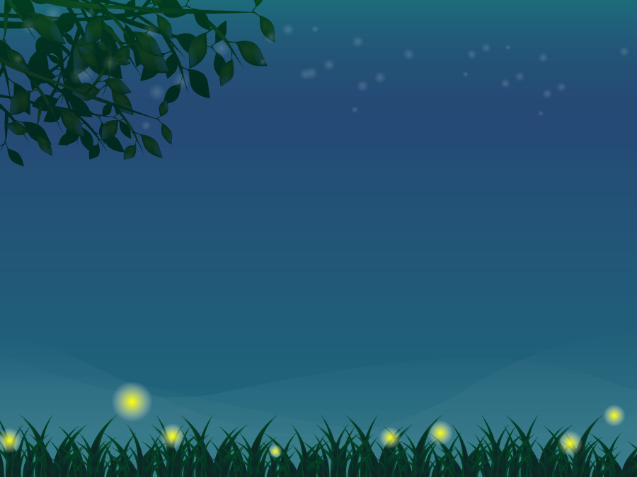 フリーイラスト ホタルの光と夜の草むらと夜空の背景