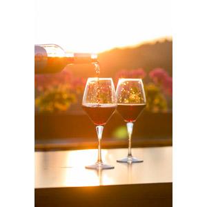 フリー写真, 飲み物(飲料), お酒, ワイン, 赤ワイン, ワイングラス, 夕暮れ(夕方)