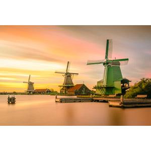 フリー写真, 風景, 建造物, 建築物, 風車, 小屋(納屋), 夕暮れ(夕方), 夕焼け, オランダの風景