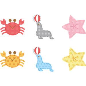 フリーイラスト, ベクター画像, AI, アップリケ(ワッペン), 動物, 蟹(カニ), 甲殻類, 哺乳類, アシカ, ヒトデ