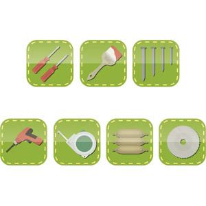 フリーイラスト, ベクター画像, AI, アイコン, 工具, ねじ回し(ドライバー), 刷毛(はけ), 釘, 電気ドリル(電動ドリル), メジャー(巻尺), セメント, 建築材料, 電気丸のこ(電動丸のこ), 鋸(のこぎり)