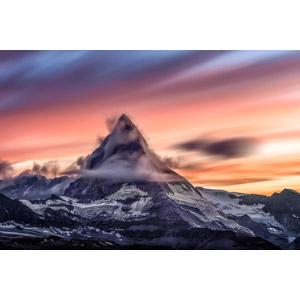 フリー写真, 風景, 自然, 山, マッターホルン, アルプス山脈, スイスの風景, イタリアの風景, 夕暮れ(夕方), 夕焼け, 雲