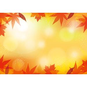 フリーイラスト, ベクター画像, AI, 背景, フレーム, 囲みフレーム, 植物, 葉っぱ, もみじ(カエデ), 紅葉(黄葉), 秋, 玉ボケ