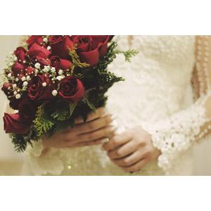フリー写真, 結婚式(ブライダル), 花嫁(新婦), ブーケ, ウェディングドレス, 植物, 花, 薔薇(バラ), 赤色の花, 手