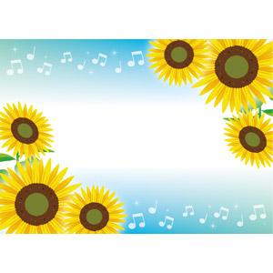フリーイラスト, ベクター画像, EPS, 背景, フレーム, 対角フレーム, 植物, 花, 向日葵(ヒマワリ), 黄色の花, 夏, 音楽, 音符