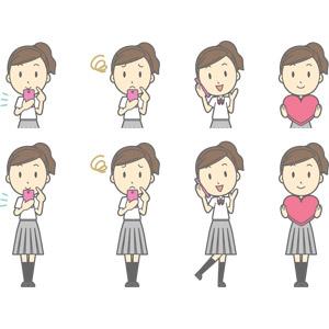 フリーイラスト, ベクター画像, AI, 人物, 少女, 少女(00270), 学生(生徒), 高校生, 学生服, 携帯電話, スマートフォン(スマホ), 困る, 通話, ハート