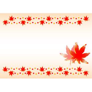 フリーイラスト, ベクター画像, EPS, 背景, フレーム, 上下フレーム, 植物, 葉っぱ, もみじ(カエデ), 紅葉(黄葉), 秋