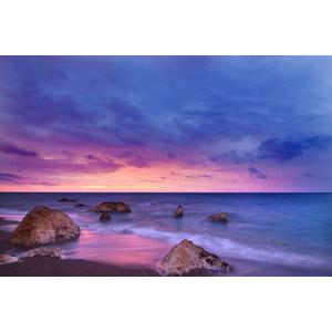 フリー写真, 風景, 自然, 夕暮れ(夕方), 夕焼け, ビーチ(砂浜), 海, 岩, スペインの風景