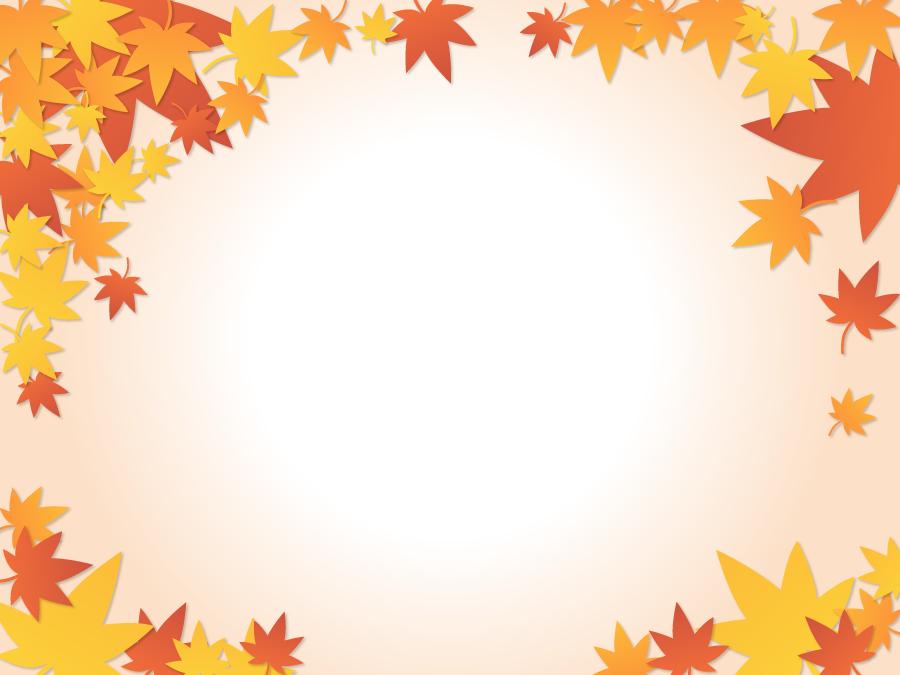フリーイラスト 紅葉したカエデの葉の飾り枠