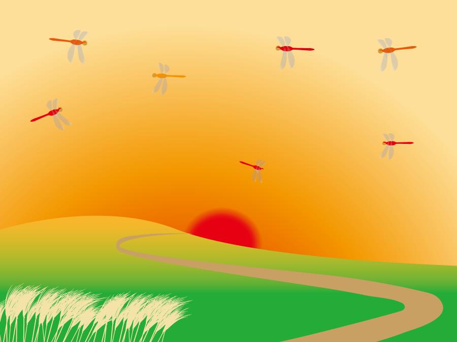 フリーイラスト 赤とんぼが飛ぶ夕日の風景