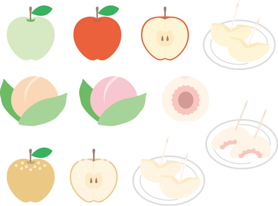 フリーイラスト リンゴと桃と梨のセット