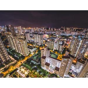 フリー写真, 風景, 建造物, 建築物, 高層ビル, 都市, 街並み(町並み), 住宅, マンション(団地), 夜, 夜景, シンガポールの風景