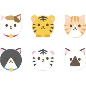 フリーイラスト, ベクター画像, AI, 動物, 哺乳類, 猫(ネコ), 虎(トラ), ホワイトタイガー, 三毛猫, 黒白猫, 茶白猫, 白黒猫