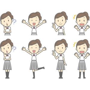 フリーイラスト, ベクター画像, AI, 人物, 少女, 少女(00270), 学生(生徒), 高校生, 学生服, 分からない, 首を傾げる, 万歳(バンザイ), 喜ぶ(嬉しい), ピースサイン, 驚く