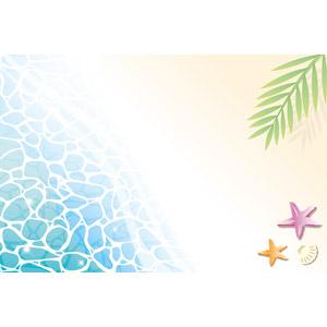 フリーイラスト, ベクター画像, EPS, 風景, 自然, ビーチ(砂浜), 海, ヒトデ, 貝殻, 南国, 夏, バカンス, リゾート