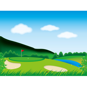 フリーイラスト, ベクター画像, AI, スポーツ, 球技, ゴルフ, ゴルフ場, 風景, 山, 青空