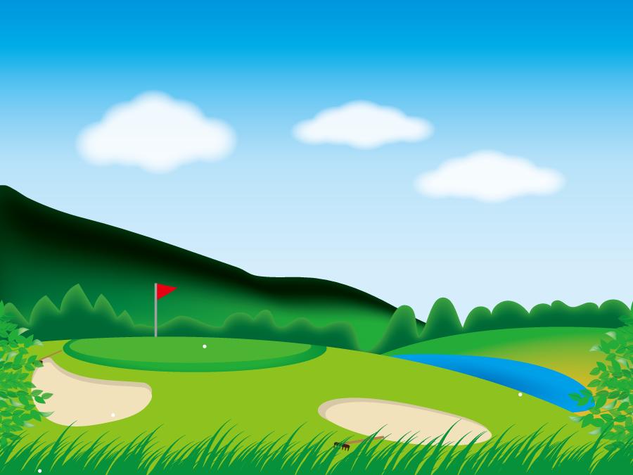 フリーイラスト ゴルフ場の風景