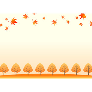 フリーイラスト, ベクター画像, EPS, 背景, フレーム, 上下フレーム, 植物, 葉っぱ, もみじ(カエデ), 紅葉(黄葉), 秋, 落ち葉, 樹木
