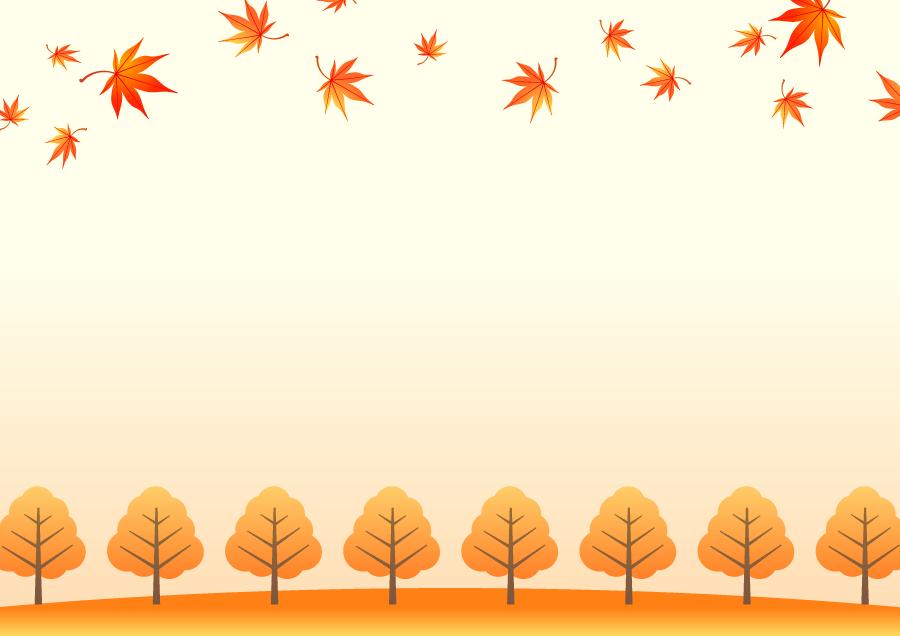 フリーイラスト 紅葉したもみじの葉と並木の飾り枠