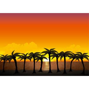 フリーイラスト, ベクター画像, AI, 風景, 自然, ビーチ(砂浜), 海, 椰子(ヤシ), 南国, 夕暮れ(夕方), 夕焼け, 夕日, 日の入り, バカンス, リゾート