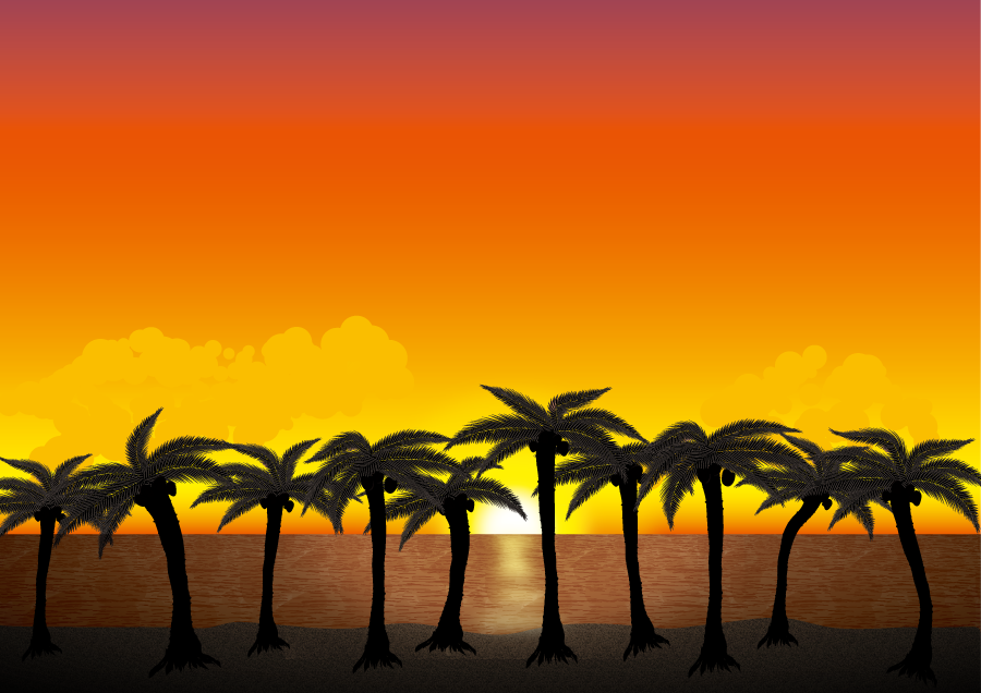 フリーイラスト 夕暮れの海とヤシの木の風景
