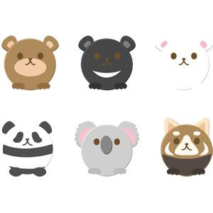 フリーイラスト, ベクター画像, AI, 動物, 哺乳類, 熊(クマ), ヒグマ, ツキノワグマ, ホッキョクグマ(シロクマ), ジャイアントパンダ, コアラ, レッサーパンダ