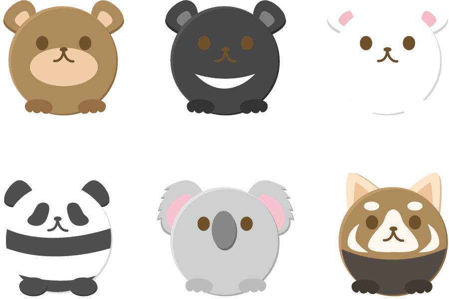 フリーイラスト 熊とパンダとコアラの丸い動物のセット