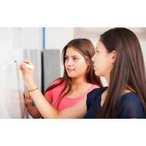 フリー写真, 人物, 少女, 外国の少女, アメリカ人, 学生(生徒), 高校生, 学校, 授業, 書く, ホワイトボード, 数学, 二人